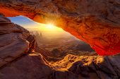 stock photo of southwest  - Iconic arching rock formation at dawn near Moab Utah - JPG
