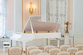 pic of hall  - white grand piano on concert hall with rows of chairs - JPG