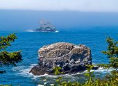 Rugged Rocky Coastline On The Oregon Coast Overlook From Cape Meares Lighthouse