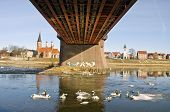 Kaunas City And  Bridge On Nemunas Riverin Spring