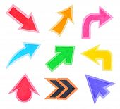 Set Of Colorful Arrows Or Cursors, Watercolor Hand Painted, Isolated