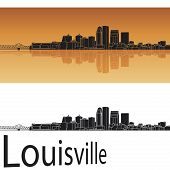 Louisville Skyline In Orange Background