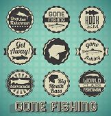 pic of trout fishing  - Collection of retro style gone fishing labels and icons - JPG