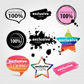 picture of exclusive  - vector collection of stylized colorful logos hundred percent exclusive - JPG
