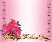 Happy Mothers Day Border Pink Roses