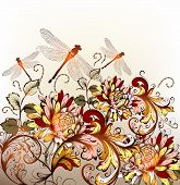 Floral Hand Drawn Background With Ornament In Retro Style
