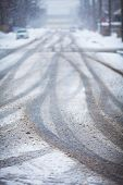 Snow-covered Road, The Marks Of Wheels.