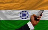 Cell Phone In Front  National Flag Of  Of India