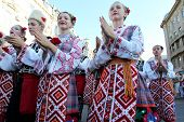 Odessa August 24: Men In Traditional Costumes At The Festival Nationalities In Celebration