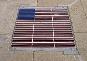 Flag-colored Storm Drain