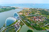 stock photo of garden sculpture  - An aerial view of Gardens by the Bay in Singapore - JPG