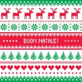 Buon Natale card - scandynavian christmas pattern