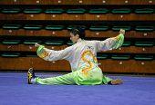 KUALA LUMPUR - NOV 03: Lee Yang of Malaysia performs his taiji quan martial arts moves in the 'taiji quan' event at the 12th World Wushu Championship on November 03, 2013 in Kuala Lumpur, Malaysia.