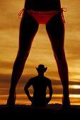 Silhouette Woman Legs Bikini Front