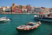 Panorama Of Aghios Nikolaos In Crete, Greece.