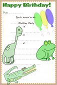 Children's Birthday Party Invitation - Boys Dinosaur Theme