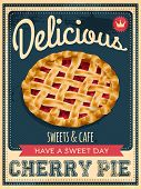 stock photo of recipe card  - vector vintage styled cherry pie poster - JPG