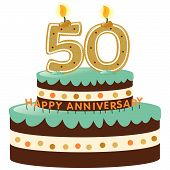 stock photo of 50th  - 50th Anniversary Cake with Candles Isolated on white - JPG