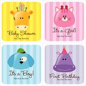 Assorted Baby Cards Vector