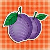 vector vintage plums sticker