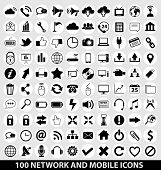 vector network and mobile icons