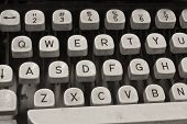 stock photo of qwerty  - An Antique Typewriter Showing Traditional QWERTY Keys VI - JPG