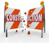 Construction Barrier Barricade Breaking Detour Road Rage