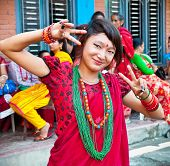 POKHARA, NEPAL-MAY 25. 2013: An unidentified Nepalese woman posing for photo during the Nepal public
