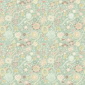 Great floral seamless pattern for textile. Birds in flowers - spring concept background. Seamless pa
