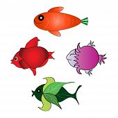 Set of the funny fishes