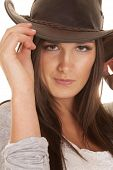Woman Western Hat Close Touch