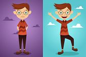 stock photo of attitude boy  - A vector illustration of a beautiful man before and after attitude change - JPG