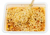 Eating Of Instant Noodles From Lunch Box