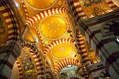 pic of church interior  - Interior with golden mosaics of Notre Dame de la Garde cathedral Marseille - JPG
