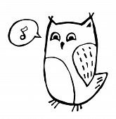 stock photo of screech-owl  - Funny owl doodle sketch isolated on white - JPG