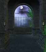 image of stomp  - Inside the Mausoleum at night with candles vines fog looking out the window towards a castle - JPG