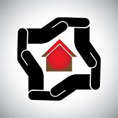 Protection Or Safety Of House Or Home Or  Property Concept Vector
