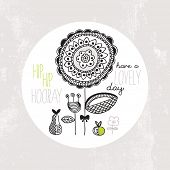 Hip hip hooray birthday postcard cover design with retro flowers and fruit template background in ve