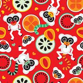 Seamless colorful fruit and retro monkey lemur kids pattern wallpaper background in vector