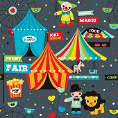 stock photo of funfair  - Seamless kids circus night fun fair illustration fabric background pattern in vector  - JPG