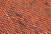 Old Red Slate Tiles Roof Abstract Background Texture