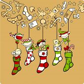 stock photo of winterberry  - Cute elves with Christmas stockings  - JPG