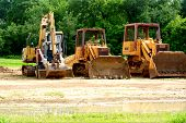 Construction equipment parked at site