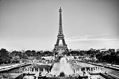 Eiffel Tower seen from fountain at Jardins du Trocadero at a sunny summer day, Paris, France. Black