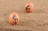 Image Of Big Eggs With Dollarand Euro  Signs On A Sand.
