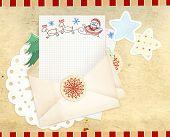 Letter to Santa Claus. Horizontal background