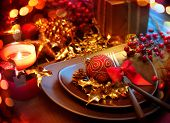 foto of christmas dinner  - Christmas And New Year Holiday Table Setting - JPG