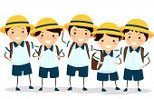 Illustration of a Group of Japanese Boys in Their School Uniforms