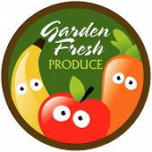 Garden Fresh Produce label/sticker Vector
