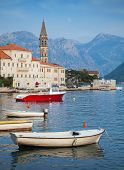 Landscape With Boats. Old Perast Town, Kotor Bay, Montenegro